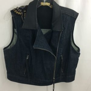 Princess by Vera Wang Denim Leather Vest Size XL